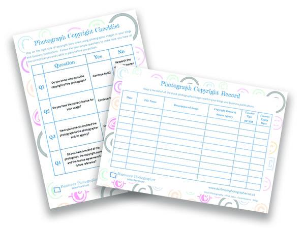 Dartmoor Photographer - Copyright Checklist and Record