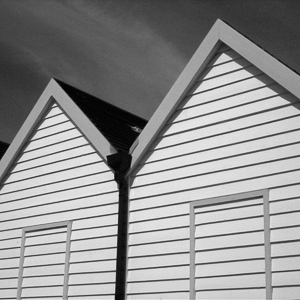 Black and White Beach Huts